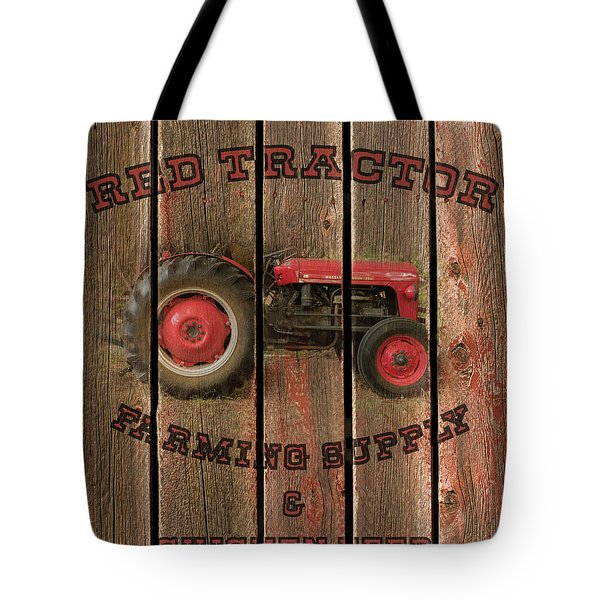 Red Tractor Farming Supply Tote Bag
