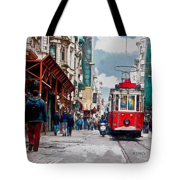 Tote Bag featuring the digital art Red Tram by Kai Saarto