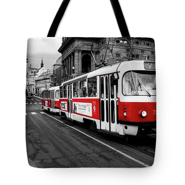 Red Tram Tote Bag