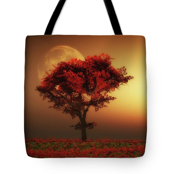 Red Tree In The Evening Tote Bag
