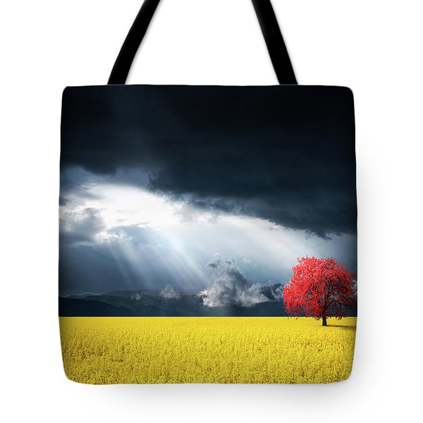 Red Tree On Canola Meadow Tote Bag