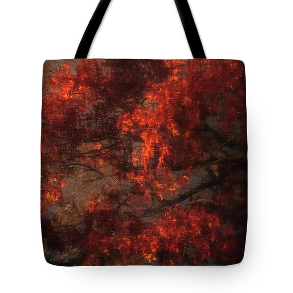 Red Tree Scene Tote Bag by Mikki Cucuzzo