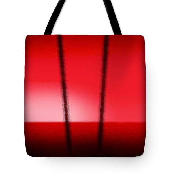 Red Tropical Abstract Sunset Tote Bag by Gina De Gorna