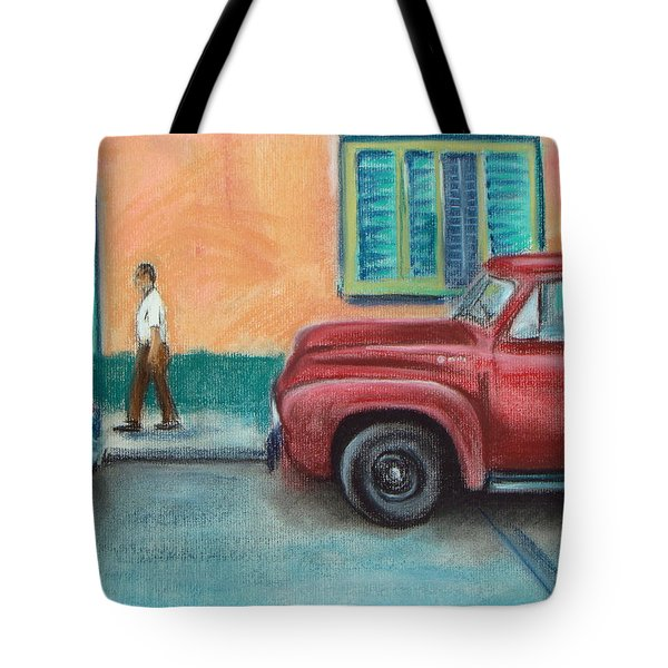Red Truck Parked Tote Bag
