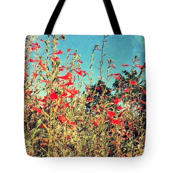 Red Trumpets Playing Tote Bag