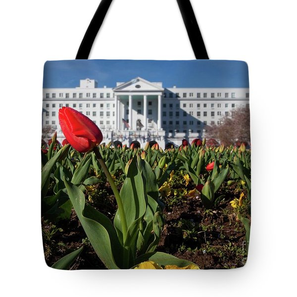Red Tulip At The Greenbrier Tote Bag by Laurinda Bowling