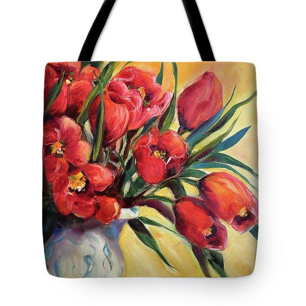 Red Tulip Kiss Tote Bag