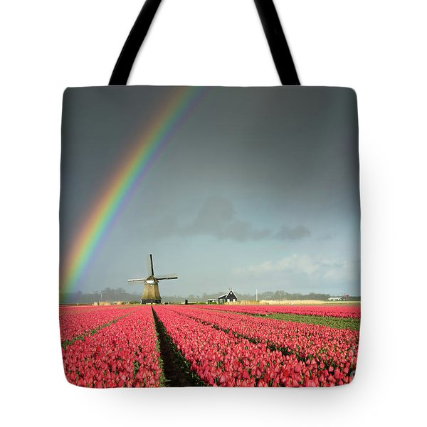 Tote Bag featuring the photograph Red Tulips, A Windmill And A Rainbow by IPics Photography
