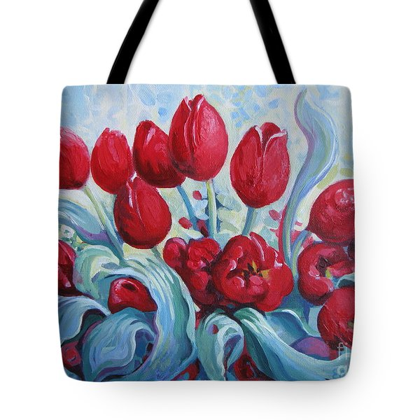Tote Bag featuring the painting Red Tulips by Elena Oleniuc