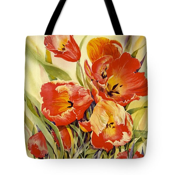 Red Tulips In My Garden Tote Bag