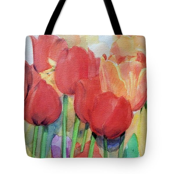 Watercolor Of Blooming Red Tulips In Spring Tote Bag