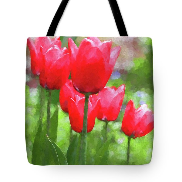 Tote Bag featuring the photograph Red Tulips In The Spring Garden by Jennie Marie Schell