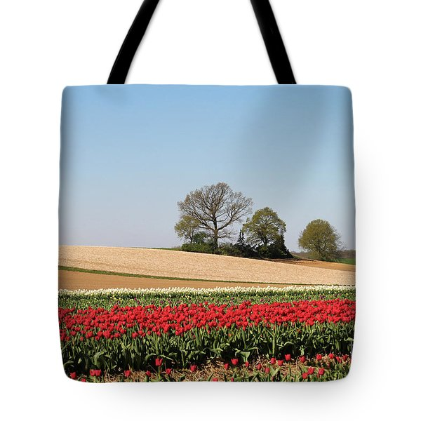 Red Tulips Landscape Tote Bag