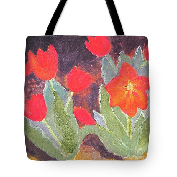 Tote Bag featuring the painting Red Tulips by Sandy McIntire