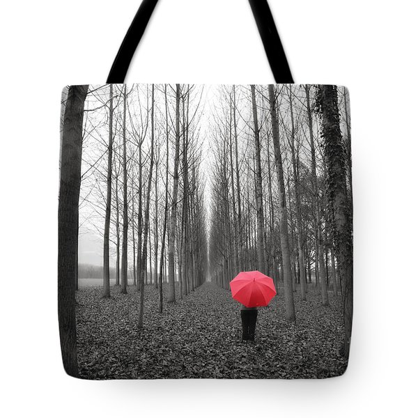Red Umbrella In An Allee Tote Bag