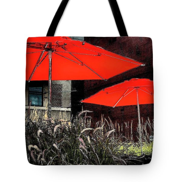 Red Umbrellas In Chicag Tote Bag