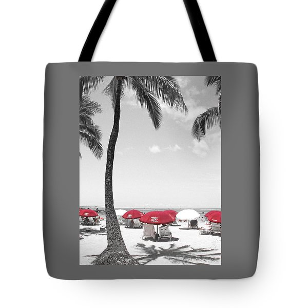 Tote Bag featuring the photograph Red Umbrellas On Waikiki Beach Hawaii by Kerri Ligatich