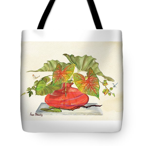 Tote Bag featuring the painting Red Vase by Anne Beverley-Stamps