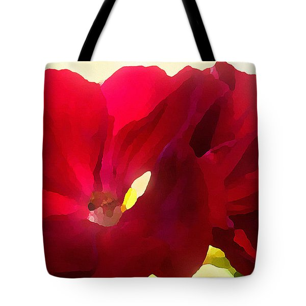 Tote Bag featuring the digital art Red Velvet Twin Geraniums  by Shelli Fitzpatrick