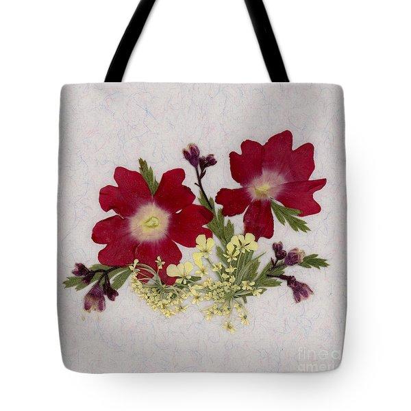 Red Verbena Pressed Flower Arrangement Tote Bag
