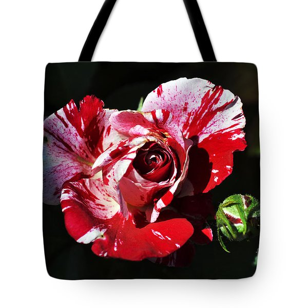 Red Verigated Rose Tote Bag