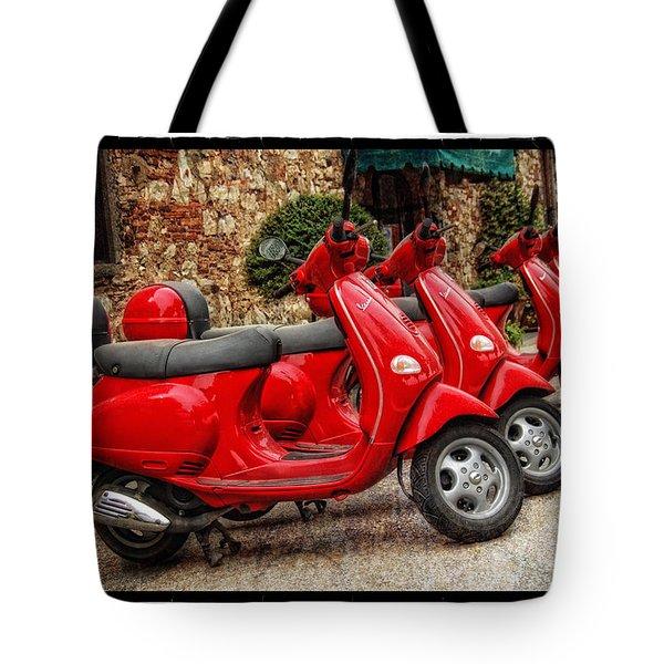 Red Vespas Tote Bag by Mauro Celotti