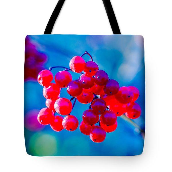 Tote Bag featuring the photograph Red Viburnum Berries by Alexander Senin