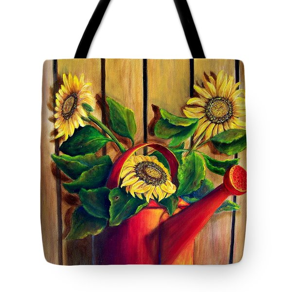 Red Watering Can With  Sunflowers.  Sold Tote Bag