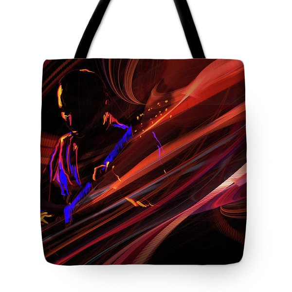 Red Waves Of Blues Tote Bag
