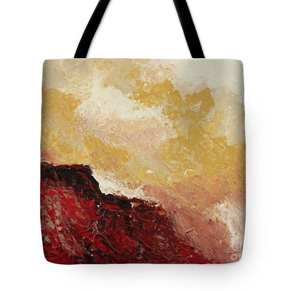 Red Waves Tote Bag