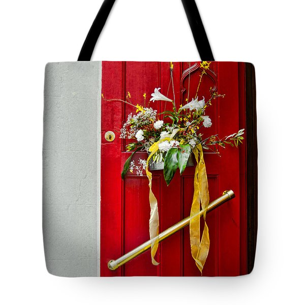 Red Welcome Tote Bag by Christopher Holmes