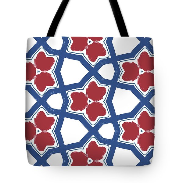 Red White And Blue Floral Motif- Art By Linda Woods Tote Bag