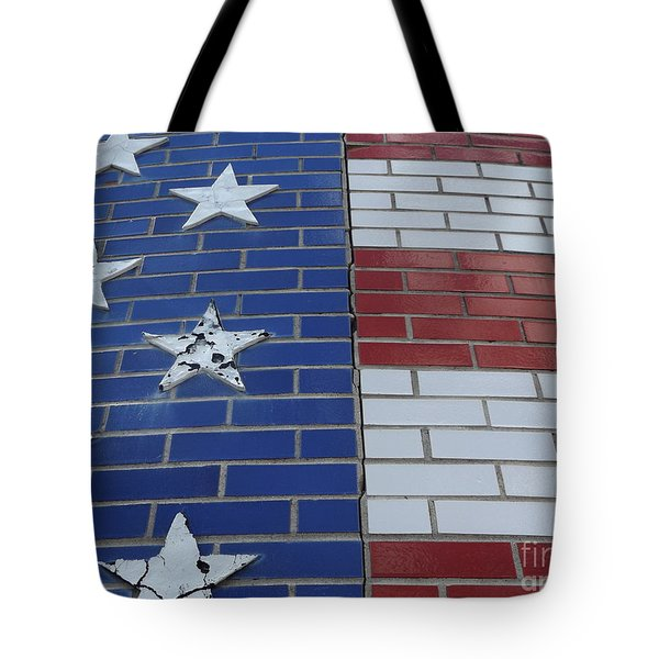 Red White And Blue On Brick Tote Bag by Erick Schmidt