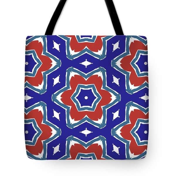 Red White And Blue Star Flowers 1- Pattern Art By Linda Woods Tote Bag