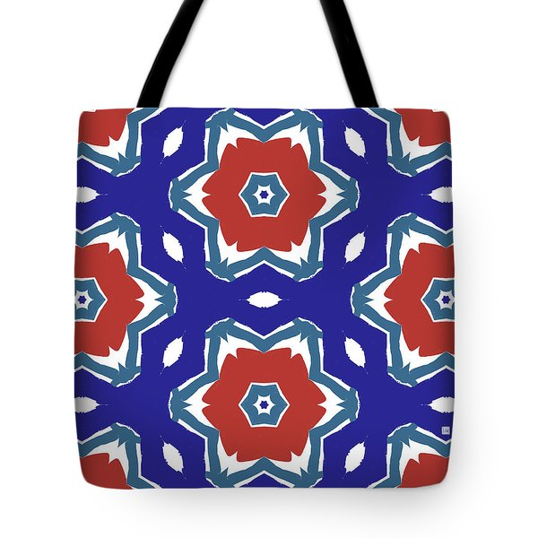 Red White And Blue Star Flowers 2 - Pattern Art By Linda Woods Tote Bag