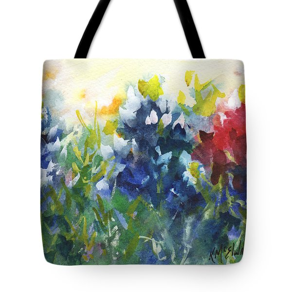 Red White And Bluebonnets Watercolor Painting By Kmcelwaine Tote Bag