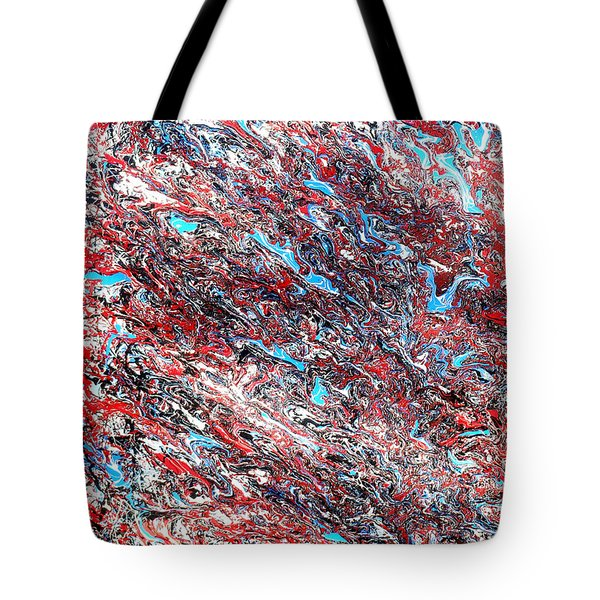 Tote Bag featuring the painting Red White Blue And Black Drip Abstract by Genevieve Esson
