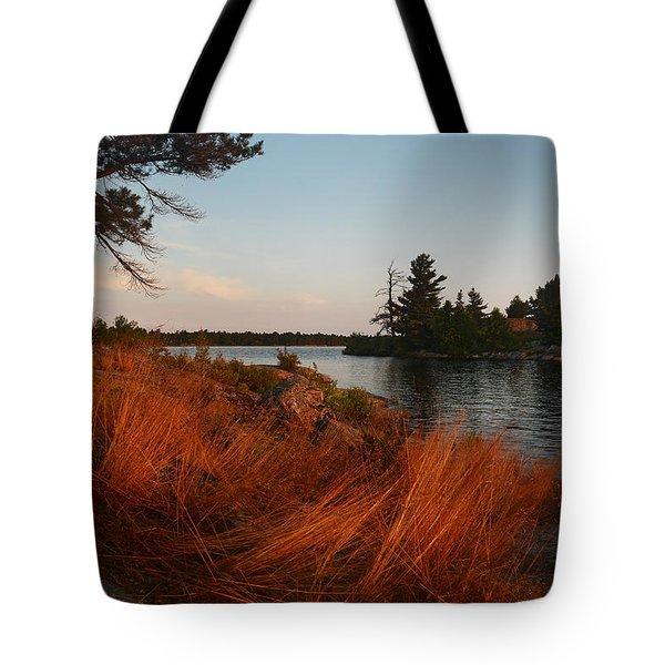 Red Wild Grass Georgian Bay Tote Bag