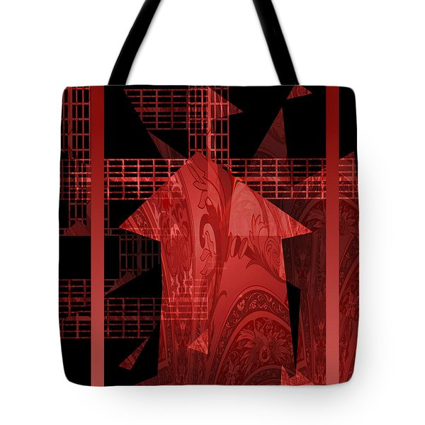 Red Windmill Abstract Tote Bag