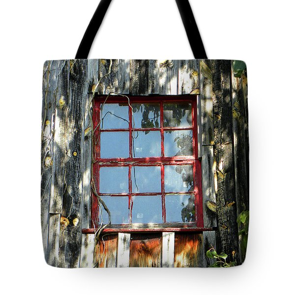 Tote Bag featuring the photograph The Red Window by Sandi OReilly