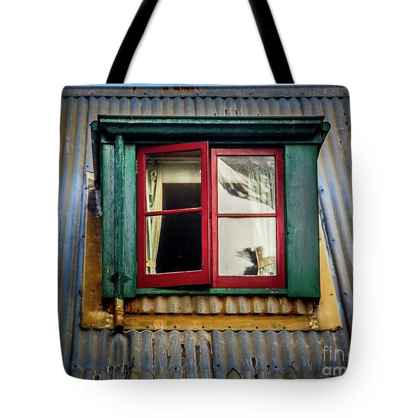 Tote Bag featuring the photograph Red Windows by Perry Webster
