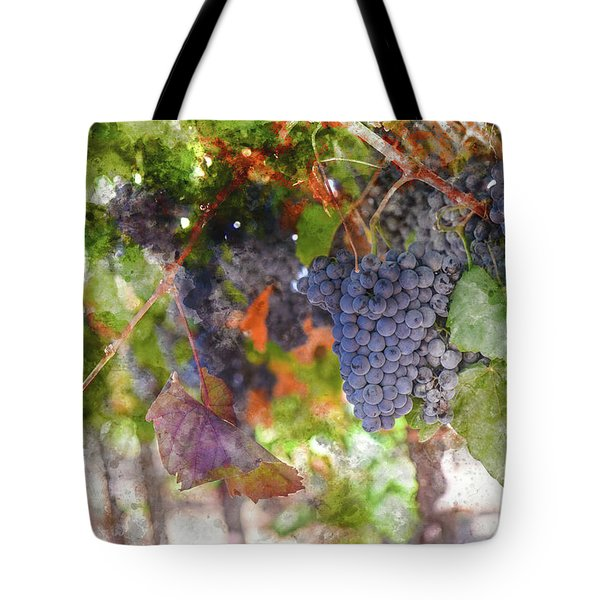 Red Wine Grapes On The Vine In Wine Country Tote Bag