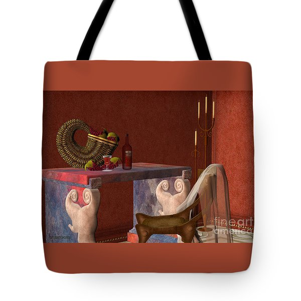Red Wineglass Tote Bag by Corey Ford