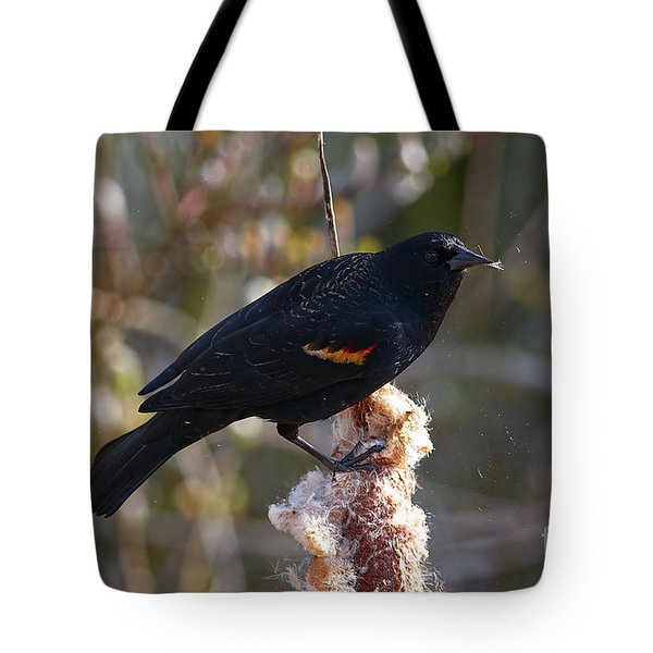Tote Bag featuring the photograph Red-winged Blackbird On Cattail Reed by Sharon Talson