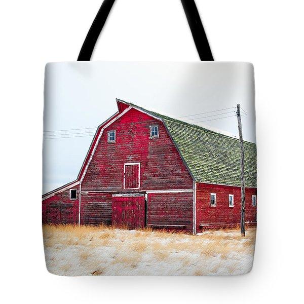 Red Winter Barn Tote Bag