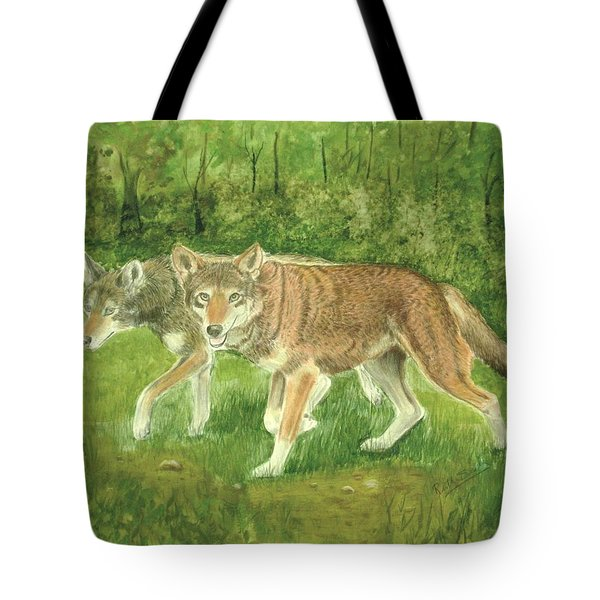 Red Wolves Tote Bag by Ruth Seal