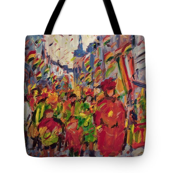 Red Yellow Green There They Come Vreug En Neugter Tote Bag