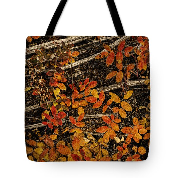 Red, Yellow Rose Leaves Tote Bag