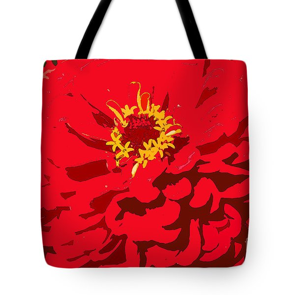 Tote Bag featuring the photograph Red Zinnia by Jeanette French