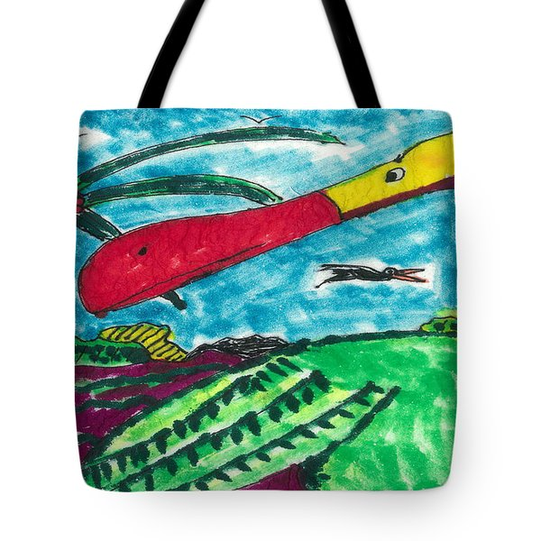 Tote Bag featuring the drawing Redbill Stork by Don Koester